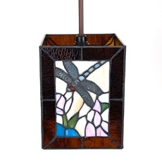 Tiffany Hanging Lamp Dragonfly Cube