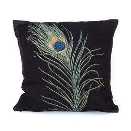 Cushion Peacock Feather | Black
