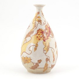 Jugendstil Vase Orange Clematis