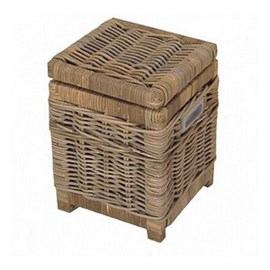 Rattan Paper Basket / Toilet Basket Grey