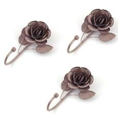 Set of 3 Hooks Grey Rose