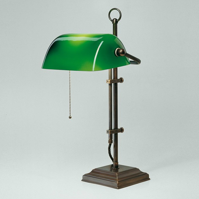 Banker Lamp Classic Square | Adjustable in height | Bronze and Green