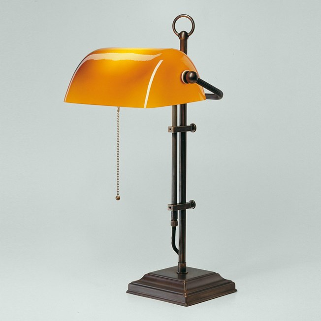 Banker Lamp Classic Square | Adjustable in height | Bronze and Brandy