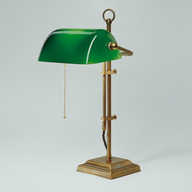 Banker Lamp Classic Square | Adjustable in height | Brass and Green