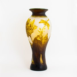 Art Nouveau Vase Yellow Dragonfly