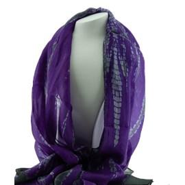 Silk Scarf Purple Batik