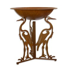 Iron fire bowl with stork legs