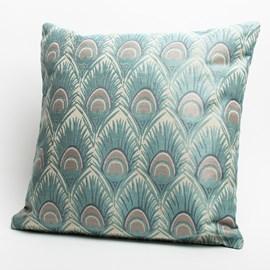 Large Cushion Peacock Feather Ocean