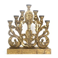 Candlestick Impressive! 3-piece gold patinated wood carving