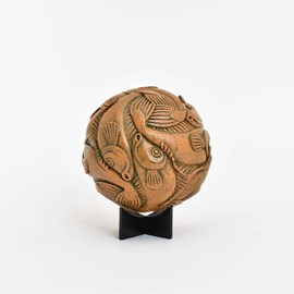 Sculpture Escher Globe with Fish
