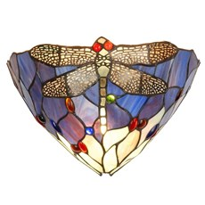 Wall lamp Tiffany Libelle blauw