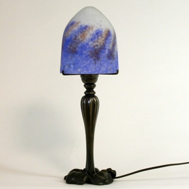 Saprotroph tablelamp with pate-de-verre glass shade and bronze finish