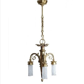 Chandelier 3-Lights With Small Etched Lampshades