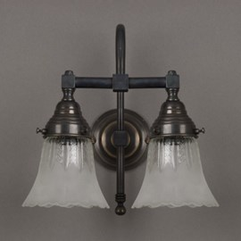Bathroom Lamp Etched Lampshades 2-Lights Large Arch