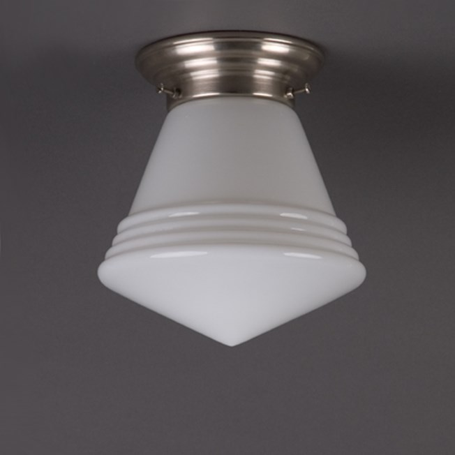 Ceilinglamp Luxury School in opal white glass with rounded matt nickel fixture