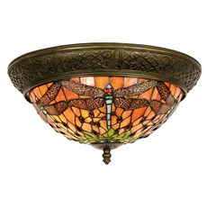 Tiffany Ceiling Lamp Dome Dragonfly Indian Summer