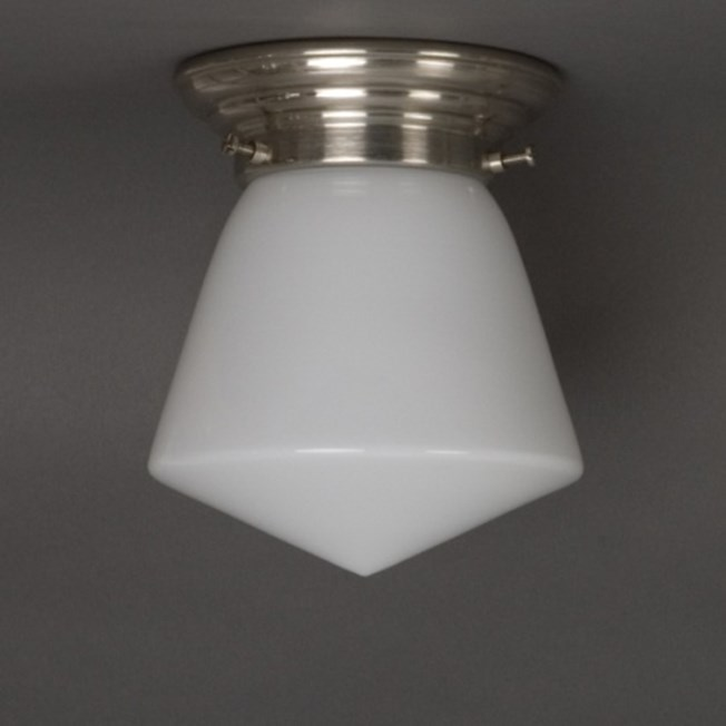 Ceilinglamp Schoollamp in opal white glass with rounded matt nickel fixture