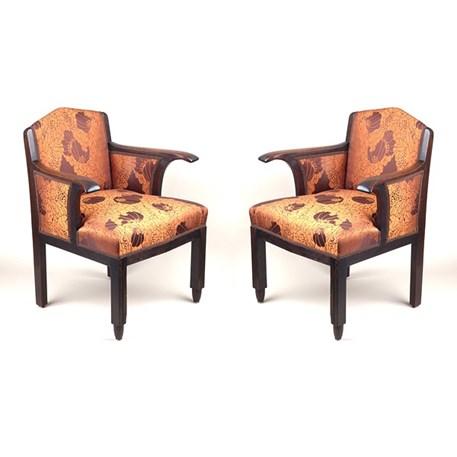 Set of 2 authentic Amsterdam School Armchairs