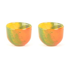 Set of 2 Glass Candle Holders Autumn