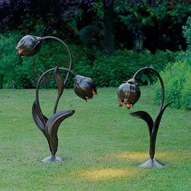 Outdoor Lamp Jugendstil  Flower Buds in Metal